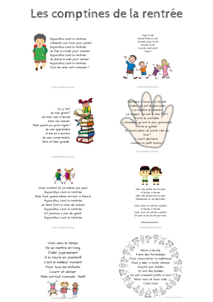 Les comptines de la rentrée - Une page - Colore mes jours